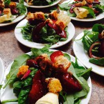 roasted plum and spinach salad